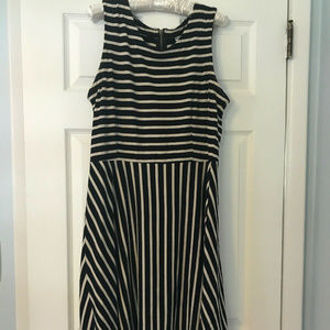 Black/Cream Striped Old Navy Fit and Flare Dress L